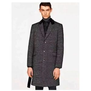 MENS ZARA BLACK SILVER METALLIC COAT